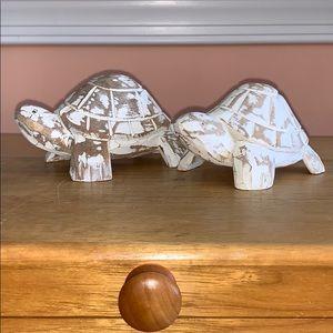 Turtle Salt & Pepper Shakers, carved wooden